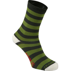Craghoppers NosiLife Travel Socks Kids Twin Pack Dark Khaki/Spiced Lime Plain & Stripe